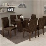 Conjunto Sala de Jantar Mesa 6 Cadeiras Classic 160cm Cel Móveis Malbec/ Suede Pena 83