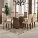 Conjunto Sala de Jantar Mesa 6 Cadeiras Dafne Móveis Lopas Imbuia Soft/Veludo Naturale Creme