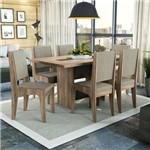 Conjunto Sala de Jantar Mesa Chilli e 6 Cadeiras Nogal/preto/bege - Kappesberg