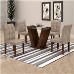 Conjunto Sala de Jantar Mesa Classic Tampo de Vidro 4 Cadeiras Vitória Cel Móveis Chocolate/Pena