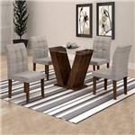 Conjunto Sala de Jantar Mesa Classic Tampo de Vidro 4 Cadeiras Vitória Cel Móveis Chocolate/Suede