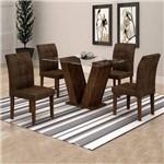 Conjunto Sala de Jantar Mesa Classic Tampo de Vidro 4 Cadeiras Vitória Cel Móveis Chocolate