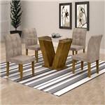 Conjunto Sala de Jantar Mesa Classic Tampo de Vidro 4 Cadeiras Vitória Cel Móveis Ypê/Pena 84