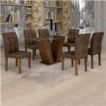 Conjunto Sala de Jantar Mesa Classic Tampo de Vidro 6 Cadeiras Vitória Cel Móveis