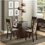 Conjunto Sala de Jantar Mesa e 4 Cadeiras Miami Madesa Tabaco/ Hibiscos