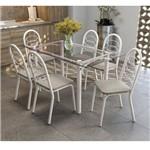 Conjunto Sala de Jantar Mesa Elba 6 Cadeiras Holanda Crome Kappesberg Branco Fosco/Linho Marrom