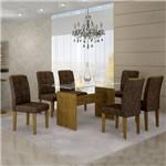 Conjunto Sala de Jantar Mesa Evidence 6 Cadeiras Villa Rica Cel Móveis Ypê/ Suede Pena 83