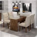 Conjunto Sala de Jantar Mesa Evidence Tampo de Vidro 4 Cadeiras Vitória Cel Móveis Chocolate/Pena