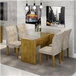 Conjunto Sala de Jantar Mesa Evidence Tampo de Vidro 4 Cadeiras Vitória Cel Móveis Ypê/Pena 84