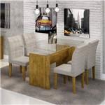 Conjunto Sala de Jantar Mesa Evidence Tampo de Vidro 4 Cadeiras Vitória Cel Móveis Ypê/Suede