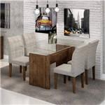 Conjunto Sala de Jantar Mesa Evidence Tampo de Vidro 4 Cadeiras Vitória Cel Móveis