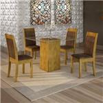 Conjunto Sala de Jantar Mesa Havana Tampo de Vidro 4 Cadeiras Rubi Cel Móveis Ypê/Animale Marrom
