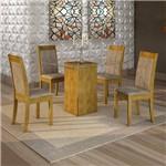 Conjunto Sala de Jantar Mesa Havana Tampo de Vidro 4 Cadeiras Rubi Cel Móveis Ypê/Pena 84