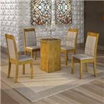 Conjunto Sala de Jantar Mesa Havana Tampo de Vidro 4 Cadeiras Rubi Cel Móveis Ypê/Suede Cinza 90