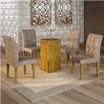 Conjunto Sala de Jantar Mesa Havana Tampo de Vidro 4 Cadeiras Vitória Cel Móveis Ypê/Pena 84