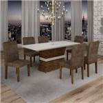 Conjunto Sala de Jantar Mesa Jade Tampo de Vidro 6 Cadeiras Sevilha Cel Móveis Chocolate/Animale
