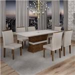 Conjunto Sala de Jantar Mesa Jade Tampo de Vidro 6 Cadeiras Sevilha Cel Móveis Chocolate/Suede