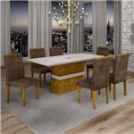 Conjunto Sala de Jantar Mesa Jade Tampo de Vidro 6 Cadeiras Sevilha Cel Móveis Ypê/Animale Marrom