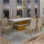 Conjunto Sala de Jantar Mesa Jade Tampo de Vidro 6 Cadeiras Sevilha Cel Móveis Ypê/Pena 84