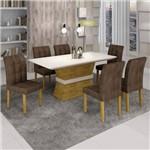 Conjunto Sala de Jantar Mesa Jade Tampo de Vidro 6 Cadeiras Vitória Cel Móveis Ypê/Animale