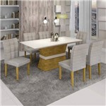Conjunto Sala de Jantar Mesa Jade Tampo de Vidro 6 Cadeiras Vitória Cel Móveis Ypê/Suede Cinza
