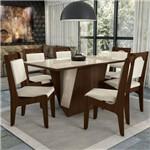 Conjunto Sala de Jantar Mesa Jasmim e 6 Cadeiras Walnut/bronze/mink Relevo - Kappesberg
