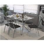 Conjunto Sala de Jantar Mesa Loire 6 Cadeiras Viena Crome Kappesberg Cromado/Preto