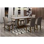 Conjunto Sala de Jantar Mesa Luanda Tampo MDF/Vidro 6 Cadeiras Grécia Siena Móveis Imbuia/Suede