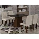 Conjunto Sala de Jantar Mesa Luna Tampo MDF/Vidro 120cm 4 Cadeiras Irlanda Rufato Castor/Turim