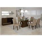 Conjunto Sala de Jantar Mesa Malta 160 C/ 06 Cadeiras Grecia Castor/animalle Choc.rufato