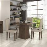 Conjunto Sala de Jantar Mesa Nevada 4 Cadeiras Linho Dafne Móveis Lópas Imbuia Soft/Rinzai Bege