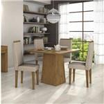 Conjunto Sala de Jantar Mesa Nevada 4 Cadeiras Linho Dafne Móveis Lópas Rovere Soft/Rinzai Bege