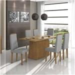 Conjunto Sala de Jantar Mesa Nevada 6 Cadeiras Dafne Móveis Lópas Rovere Soft/Rinzai Cinza