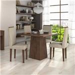 Conjunto Sala de Jantar Mesa Nevada e 4 Cadeiras Dafne Móveis Lopas Imbuia Soft/naturale Creme