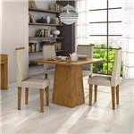 Conjunto Sala de Jantar Mesa Nevada e 4 Cadeiras Dafne Móveis Lopas Rovere Soft/naturale Creme