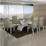 Conjunto Sala de Jantar Mesa Olímpia 120cm 4 Cadeiras Alemanha Creta Branco - Leifer