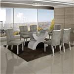Conjunto Sala de Jantar Mesa Olímpia Tampo de Vidro 6 Cadeiras Alemanha Branco - Leifer