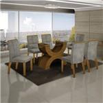 Conjunto Sala de Jantar Mesa Olímpia Tampo de Vidro 6 Cadeiras Alemanha Leifer Imbuia Mel/África