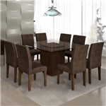 Conjunto Sala de Jantar Mesa Ômega Tampo de Vidro 8 Cadeiras Classic Cel Móveis Chocolate/Animale