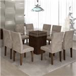 Conjunto Sala de Jantar Mesa Ômega Tampo de Vidro 8 Cadeiras Classic Cel Móveis Chocolate/Pena 84