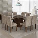 Conjunto Sala de Jantar Mesa Ômega Tampo de Vidro 8 Cadeiras Vitória Cel Móveis Chocolate/Pena
