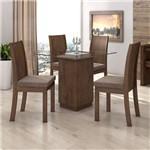 Conjunto Sala de Jantar Mesa Petra 4 Cadeiras Florença Móveis Lopas Imbuia Soft/Velvet Castor