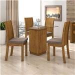 Conjunto Sala de Jantar Mesa Petra 4 Cadeiras Florença Móveis Lopas Rovere Soft/Velvet Castor