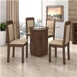 Conjunto Sala de Jantar Mesa Petra 4 Cadeiras Pérola Móveis Lopas Imbuia Soft/Veludo Naturale