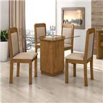 Conjunto Sala de Jantar Mesa Petra 4 Cadeiras Pérola Móveis Lopas Rovere Soft/Linho Rinzai Bege