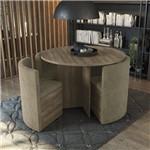 Conjunto Sala de Jantar Mesa Redonda 4 Cadeiras Estofadas Kappesberg Nogal/caramelo