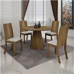 Conjunto Sala de Jantar Mesa Redonda Paris e 4 Cadeiras Vitória Ypê - Leife