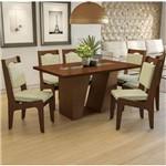 Conjunto Sala de Jantar Mesa Romã e 6 Cadeiras Walnut/lima - Kappesberg