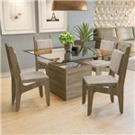 Conjunto Sala de Jantar Mesa Sálvia e 4 Cadeiras Nogal/bege - Kappesberg