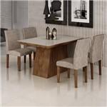 Conjunto Sala de Jantar Mesa Sevilha I Tampo de Vidro 4 Cadeiras Miami Cel Móveis Chocolate/Pena